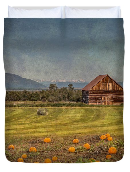 Pumpkin Field Moon Shack Duvet Cover