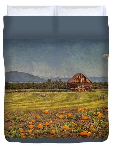Duvet Cover featuring the photograph Pumpkin Field Moon Shack by Patti Deters