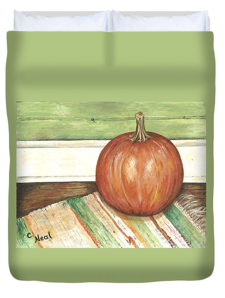 Pumpkin On A Rag Rug Duvet Cover