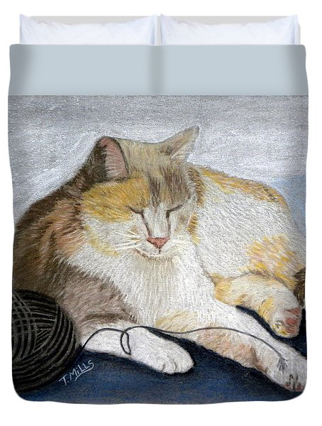 Duvet Cover featuring the pastel Pumpkin Patch - Calico Cat by Terri Mills