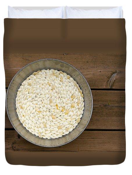 Pumpkin Seeds In A Bucket Duvet Cover