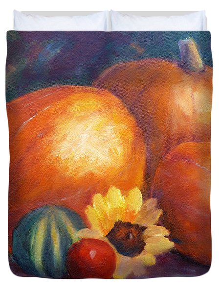 Pumpkins And Flowers Duvet Cover