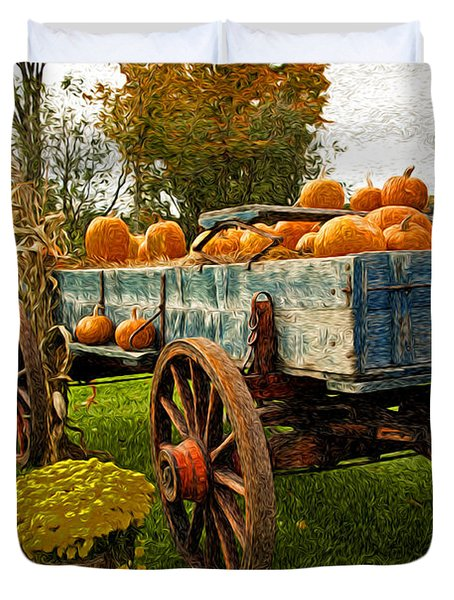 Duvet Cover featuring the photograph Pumpkins by Bill Howard