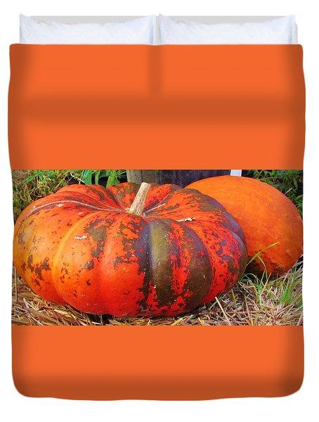 Duvet Cover featuring the photograph Pumpkins by Cynthia Guinn