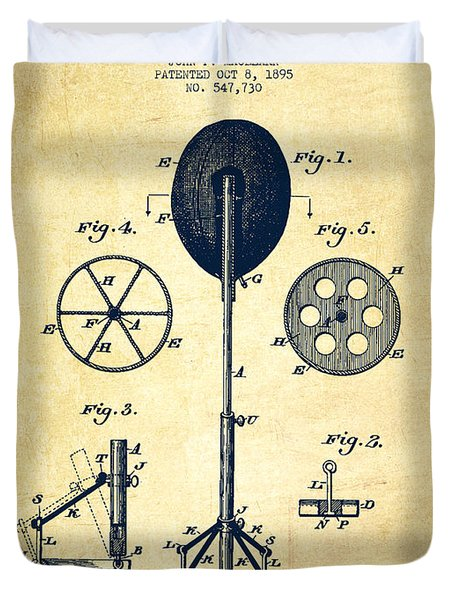 Punching Apparatus Patent Drawing From 1895 -vintage Duvet Cover by Aged Pixel