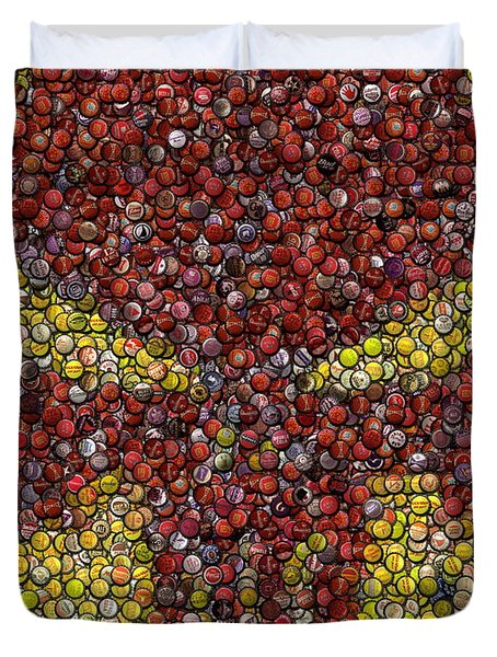 Punisher Bottle Cap Mosaic Duvet Cover by Paul Van Scott