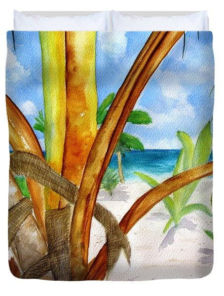 Punta Cana Beach Palm Duvet Cover