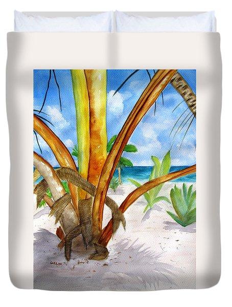 Punta Cana Beach Palm Duvet Cover by Carlin Blahnik