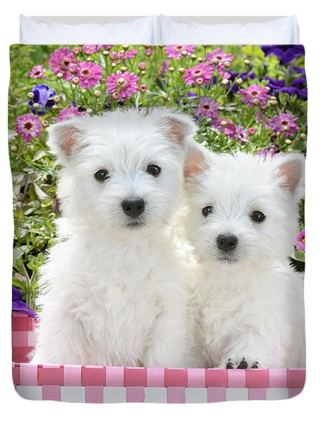 Puppies In A Pink Basket Duvet Cover by Greg Cuddiford