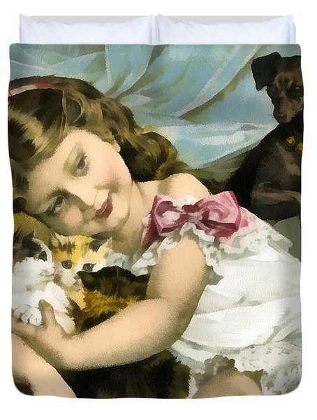 Puppies Kittens And Baby Girl Duvet Cover by Vintage Trading Cards