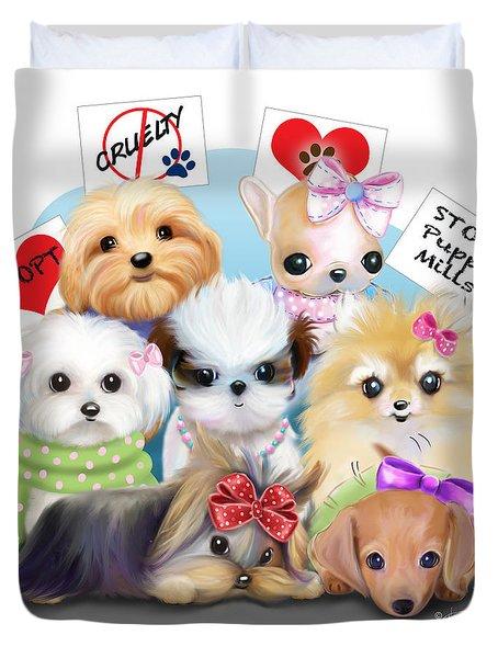 Puppies Manifesto Duvet Cover