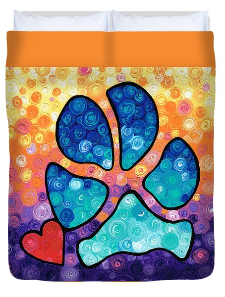 Puppy Love - Colorful Dog Paw Art By Sharon Cummings Duvet Cover by Sharon Cummings