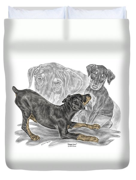 Puppy Love - Doberman Pinscher Pup - Color Tinted Duvet Cover