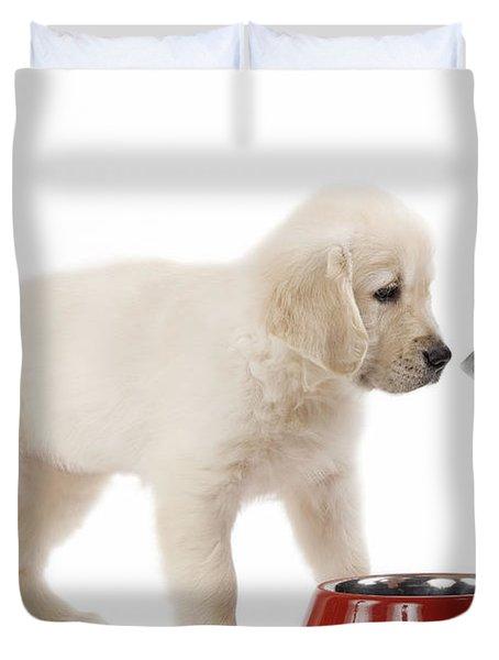 Puppy Receiving Medicine Duvet Cover by Jean-Michel Labat