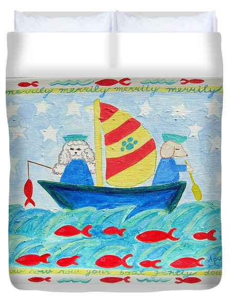 Puppy Sailors Duvet Cover by Diane Pape