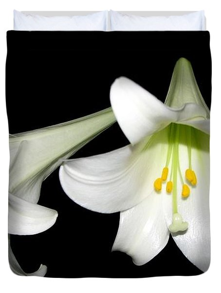 Pure White Easter Lilies Duvet Cover by Rose Santuci-Sofranko