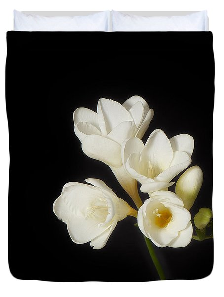 Duvet Cover featuring the photograph Purity   A White On Black Floral Study by Lisa Knechtel