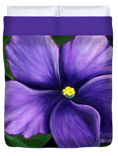 Purple African Violet Duvet Cover by Barbara Griffin
