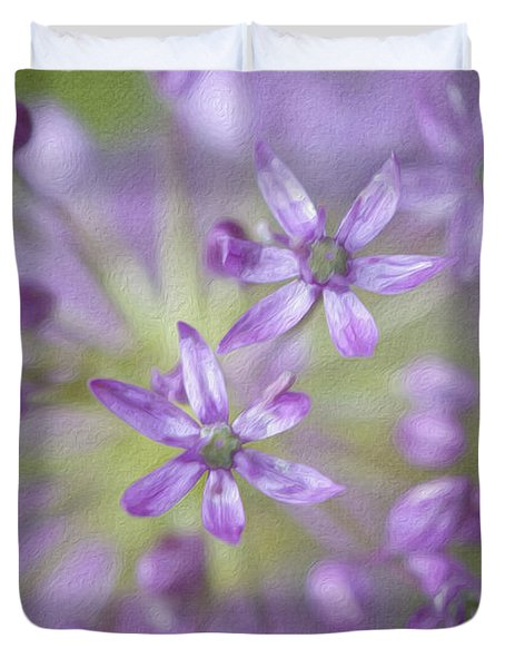 Purple Allium Flower Duvet Cover by Juli Scalzi