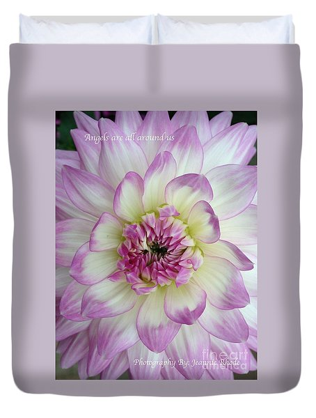 Duvet Cover featuring the photograph Purple And Cream Dahlia by Jeannie Rhode
