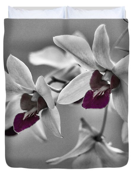 Purple And Pale Green Orchids - Black And White Duvet Cover