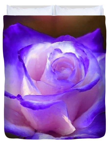 Purple And Pink Rose Duvet Cover by Bruce Nutting