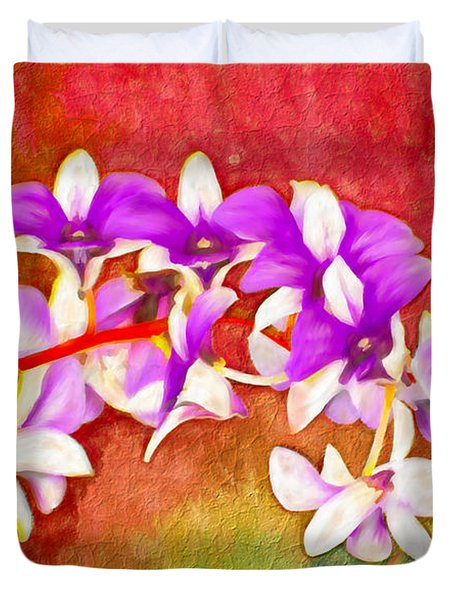 Purple And Red Duvet Cover by Ken Frischkorn