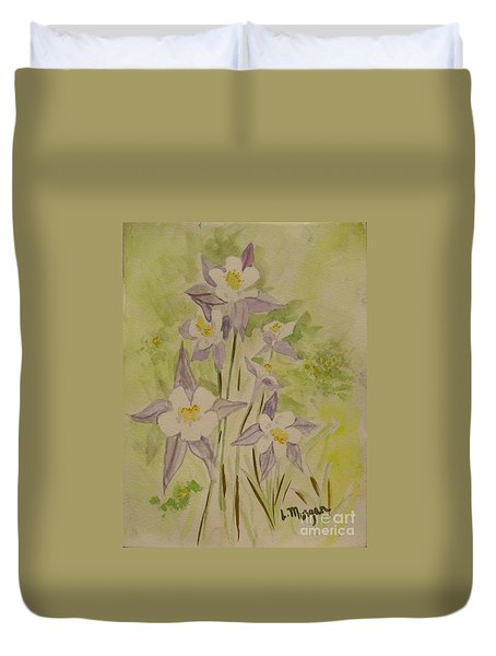 Purple And White Columbines Duvet Cover