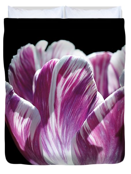 Purple And White Marbled Tulip Duvet Cover