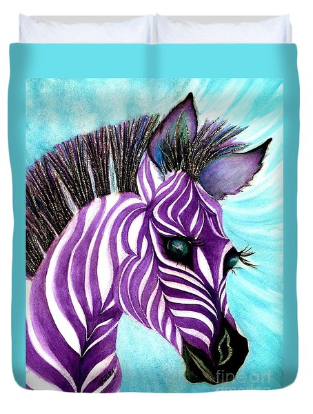 Purple Baby Zebra Duvet Cover
