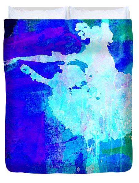 Purple Ballerina Watercolor Duvet Cover by Naxart Studio