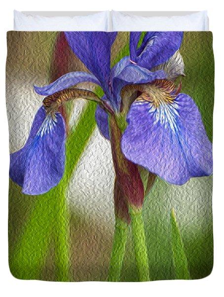 Purple Bearded Iris Oil Duvet Cover