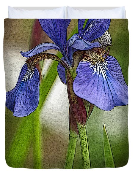 Purple Bearded Iris Watercolor With Pen Duvet Cover