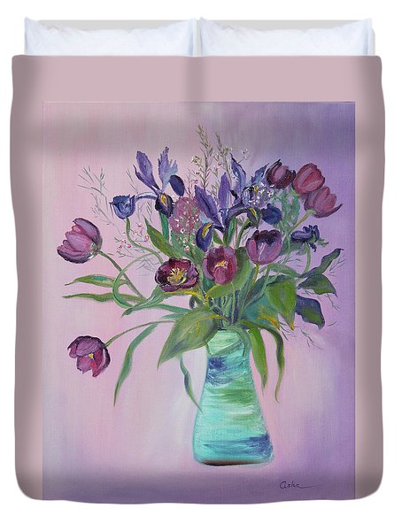 Duvet Cover featuring the painting Purple Belle Bouquet  Tulips And Irises by Asha Carolyn Young