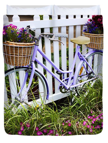 Purple Bicycle And Flowers Duvet Cover