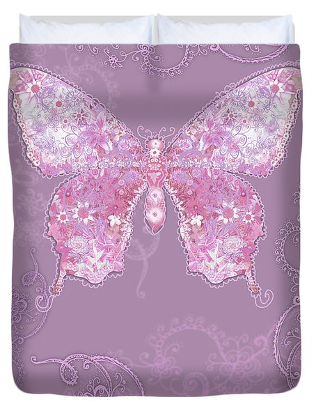 Purple Butterfly Floral Duvet Cover by Alixandra Mullins
