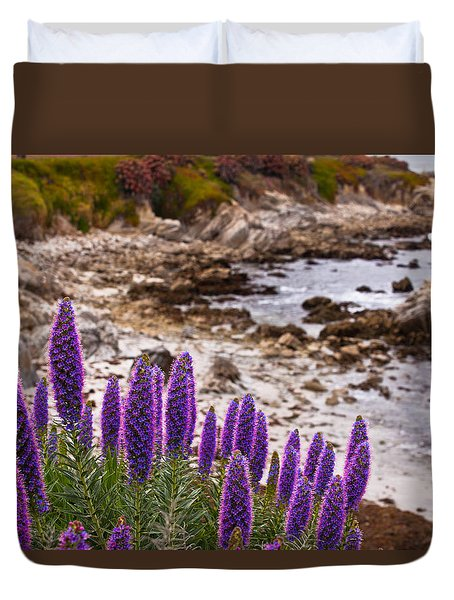 Purple California Coastline Duvet Cover