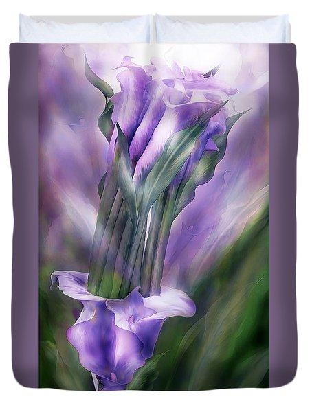 Purple Callas In Calla Vase Duvet Cover by Carol Cavalaris
