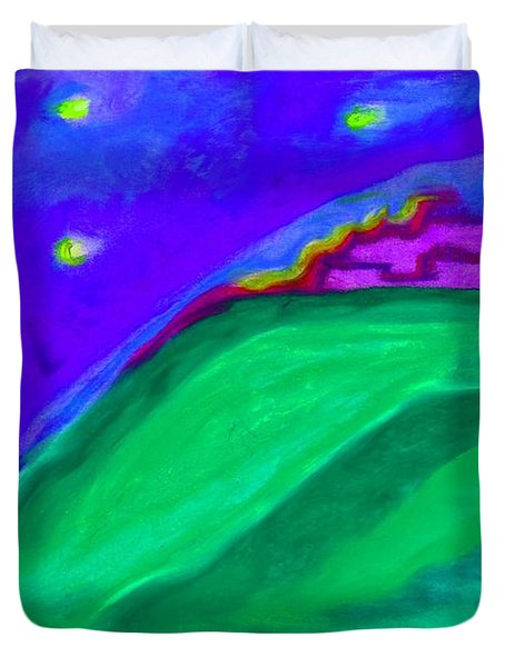 Duvet Cover featuring the painting Purple Castle By Jrr by First Star Art