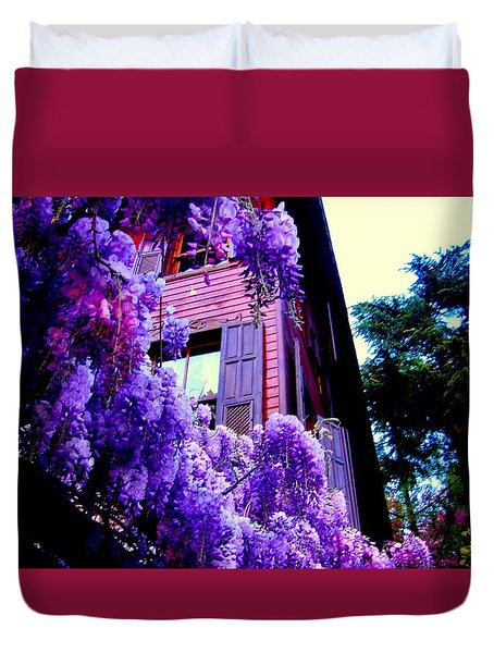 Duvet Cover featuring the photograph Purple Cheer by Zafer Gurel