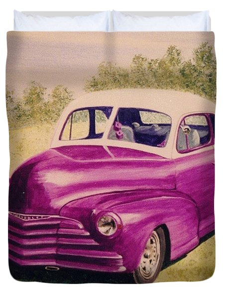 Purple Chevrolet Duvet Cover by Stacy C Bottoms