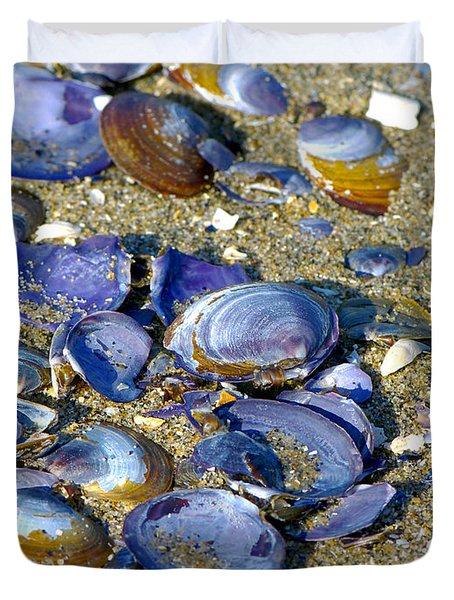 Purple Clam Shells On A Beach Duvet Cover