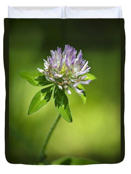 Purple Clover Flower Duvet Cover by Christina Rollo