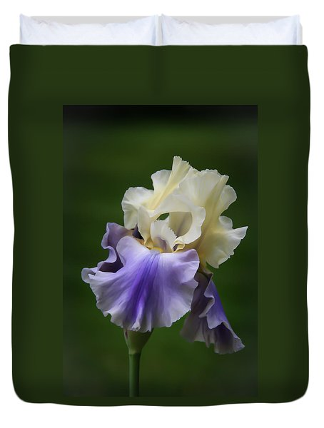 Duvet Cover featuring the photograph Purple Cream Bearded Iris by Patti Deters