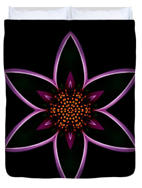 Purple Echinacea Flower Mandala Duvet Cover