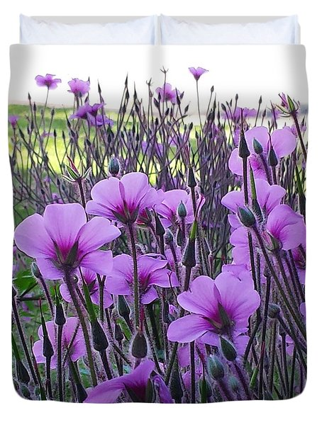 Duvet Cover featuring the photograph Purple Field by Jasna Gopic