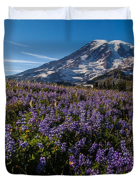 Purple Fields Forever And Ever Duvet Cover