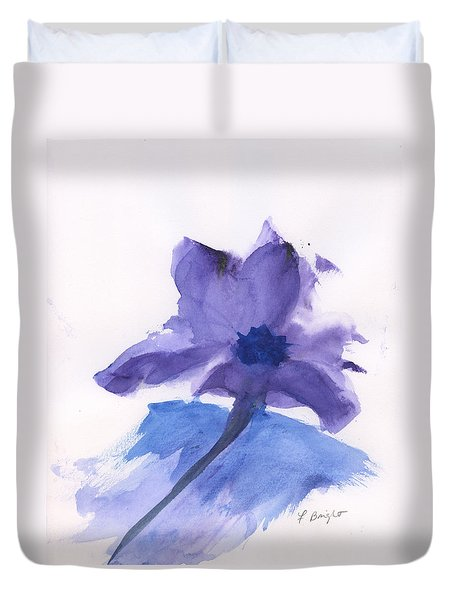 Duvet Cover featuring the painting Purple Flower by Frank Bright