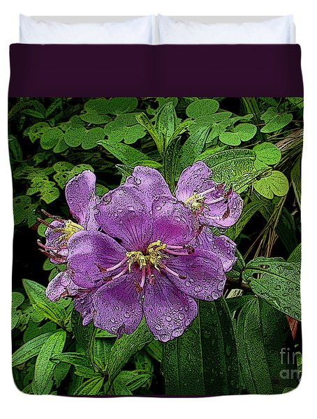 Purple Flower Duvet Cover by Sergey Lukashin