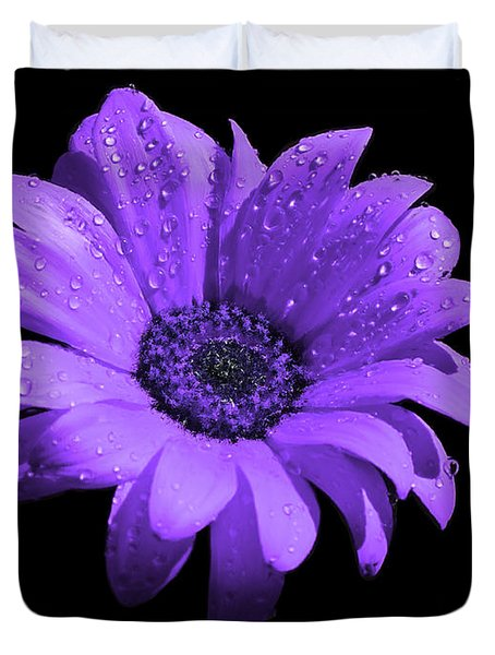 Purple Flower With Rain Duvet Cover by Bruce Nutting